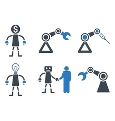 Robot flat icons vector