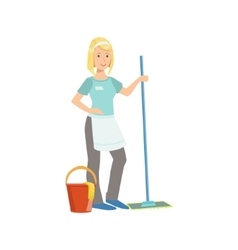 Hotel professional maid washing the floor vector