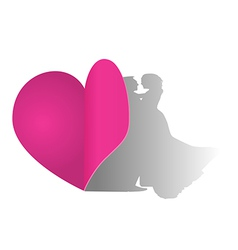 Heart paper with couple shadow concept vector