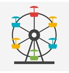 Ferris wheel icon silhouette entertainment round vector