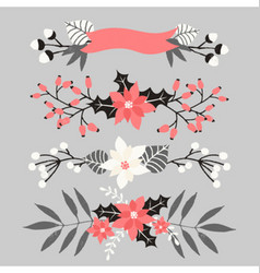 Christmas floral elements collection vector