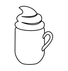 Silhouette mug of cappuccino with cream vector