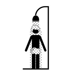 monochrome pictogram of the man in the shower vector image