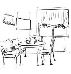Dining table with coffee sketching interior vector