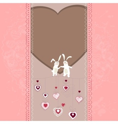 Easter card with hearts and rabbits vector