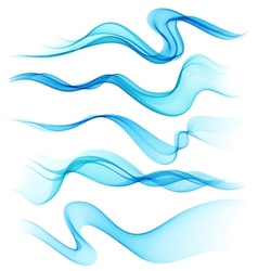Set of abstract smoke curved lines vector