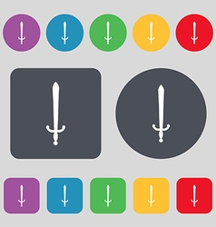 Sword icon sign a set of 12 colored buttons flat vector