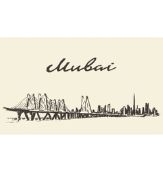 Mumbai big city architecture hand drawn sketch vector