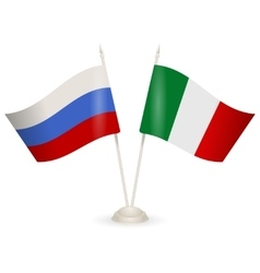 Table stand with flags of russia and italy vector