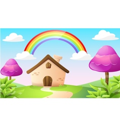 Cartoon house and landscape vector