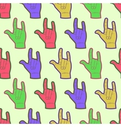 Rock hands colorful seamless pattern vector