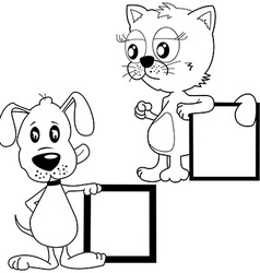 Black and white cat and puppy holding banners vector