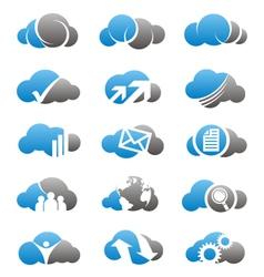 Cloud computing icons and logos set vector image