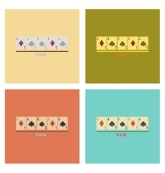 Assembly flat icons poker pair cards vector