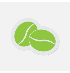 Simple green icon - two coffee beans vector