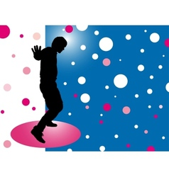 Abstract background with silhouette disco man vector image vector image