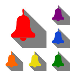 Bell alarm handbell sign set of red orange vector