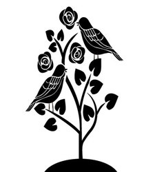 birds in a tree with flowers vector image vector image