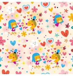 Boy and girl in love seamless pattern vector
