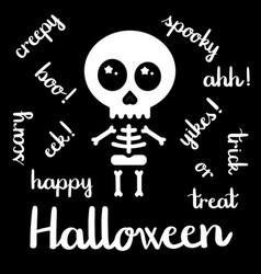 cute kawaii skeleton halloween handwriting vector image vector image