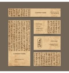 Egypt hieroglyphs business cards for your design vector image