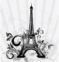 Eiffel tower with floral and grunge vector