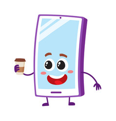 Funny cartoon mobile phone smartphone character vector