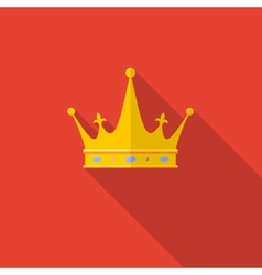 Golden crown on red background with long shadow vector image