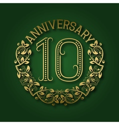 Golden emblem of tenth anniversary Celebration vector image vector image