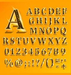golden english alphabet on yellow background vector image vector image