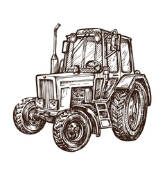 hand drawn farm tractor sketch vector image