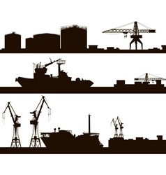 Harbour Skyline Silhouette Set vector image vector image