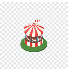 Isolated horses attraction isometric carousel vector