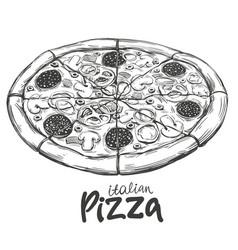 Italian pizza pizza design template logo hand vector