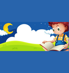Little boy reading book at night vector