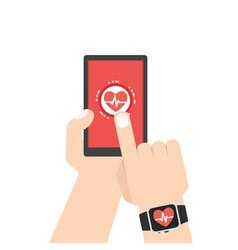 Measuring heart rate smart phone smar twatch vector