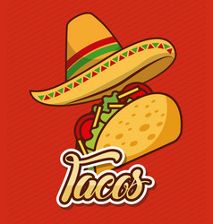 mexican hat and taco fast food traditional vector image