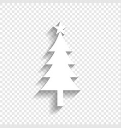 New year tree sign white icon with soft vector