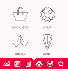 Paper boat flippers and lifebuoy icons vector