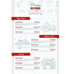 Restaurant vertical color sushi menu vector