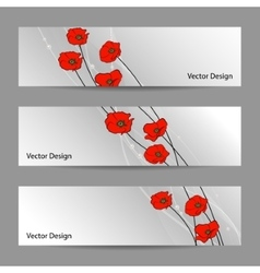 Set of horizontal banners with flowers vector image vector image