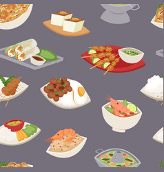 Traditional thai food asian plate cuisine thailand vector