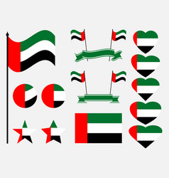 united arab emirates flag set collection vector image vector image