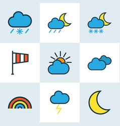 Weather colored outlines set collection of vector