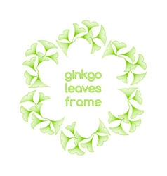 Linear ginkgo biloba leaves frame vector image