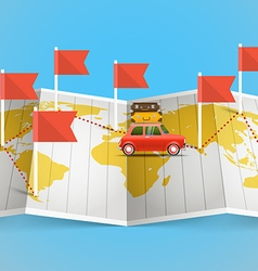 World map with red flag and vehicle vector