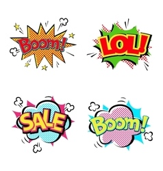 Popart comic speech bubble boom effects vector