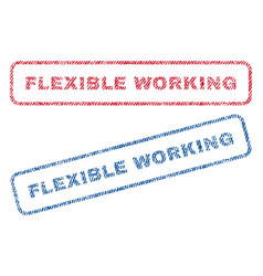 Flexible working textile stamps vector