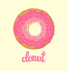 sweet donut with pink glaze isolated on background vector image