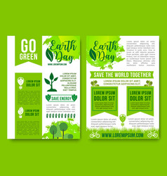 Earth day brochures green nature energy vector